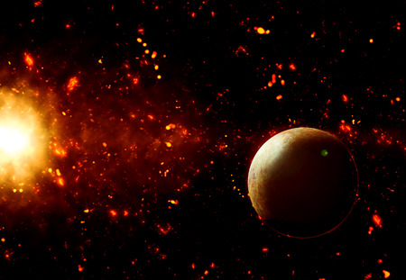 fictional: 3D space background with fictional planet Stock Photo
