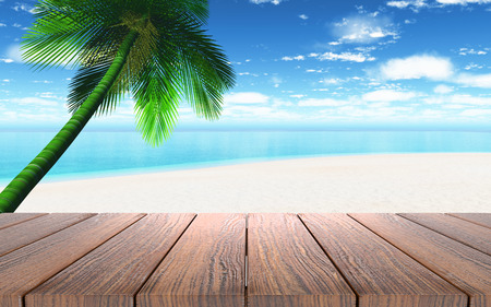 3D render of a wooden table looking out to a beach with palm tree