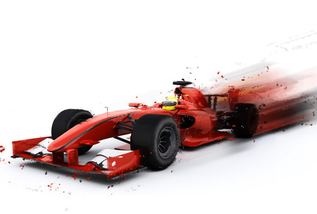 car race: 3D render of a generic F1 racing car with special effect added