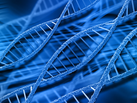 microcosmic: 3D render of DNA strands on abstract background
