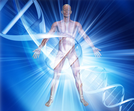 microcosmic: 3D render of a male medical figure on an abstract DNA background Stock Photo