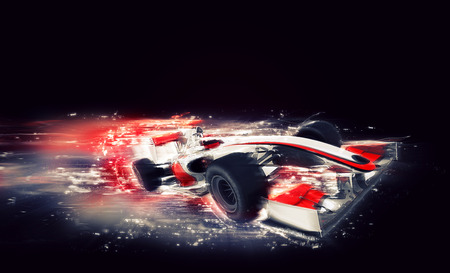 3D render of a generic F1 car with special speed effect