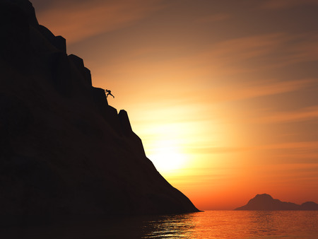 free climber: 3D render of a rock climber climbing a large mountain against a sunset sky Stock Photo