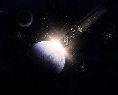 colliding: 3D background with meteorites colliding against a planet in an explosion Stock Photo