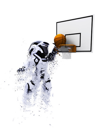 chrome man: 3D render of a robot playing basketball with special effect added
