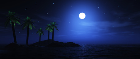 moonlit: 3D render of a moonlit palm tree island Stock Photo