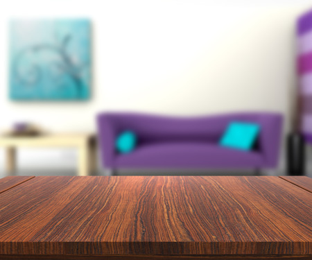 table top: 3D render of a wooden table with a defocussed modern lounge in the background