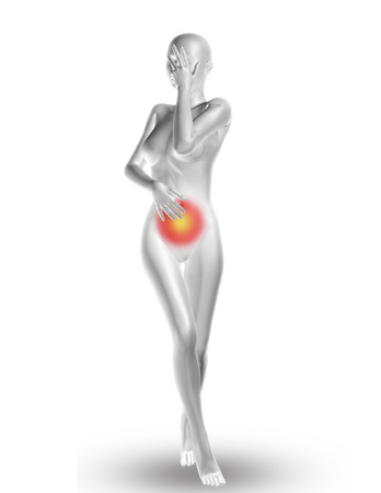 stomach pain: 3D render of a female medical figure with stomach pain