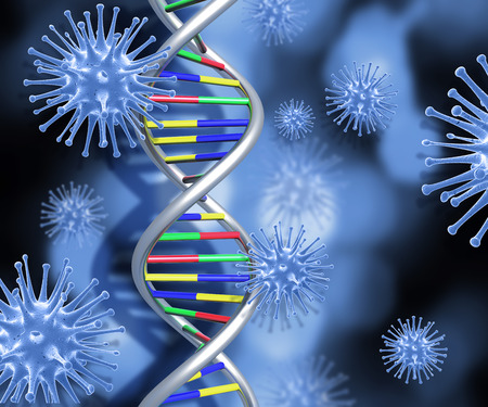 microcosmic: Colourful DNA strands on abstract background with 3D medical virus cells Stock Photo