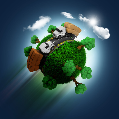 zooming: 3D render of a grassy globe with trucks and trees zooming through a blue sky background Stock Photo