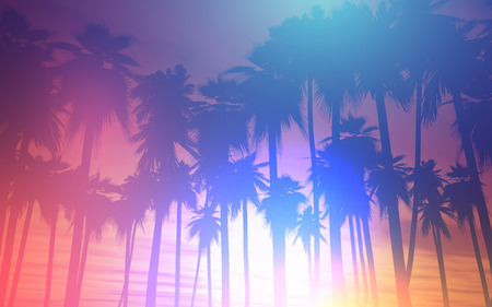 sunrise ocean: 3D landscape of palm trees against a sunset sky with retro effect