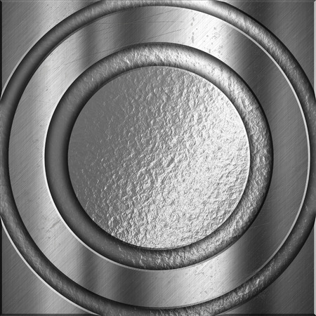 aluminium texture: Abstract silver metal background with circular frames Stock Photo