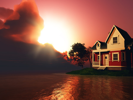 lake house: 3D render of a house by a lake against a dramatic sunset sky