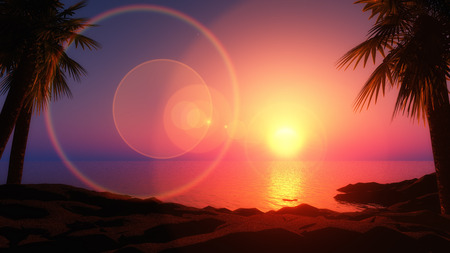 mountain sunset: 3D render of a tropical island with sun rays Stock Photo