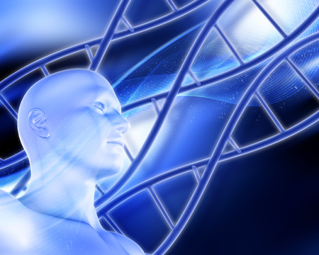 dna strands: 3D medical background with DNA strands and male figure