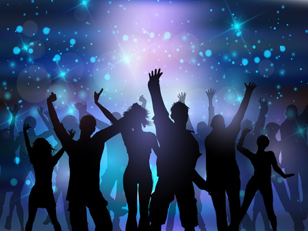 Silhouettes of people dancing on an abstract lights background