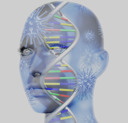 microcosmic: 3D medical concept image with female face and DNA strands