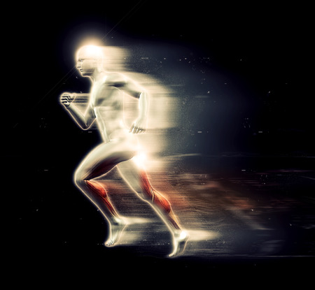 special effect: 3D render of a male figure running with speed special effect Stock Photo