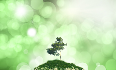 defocussed: 3D render of a tree and grass against a defocussed background