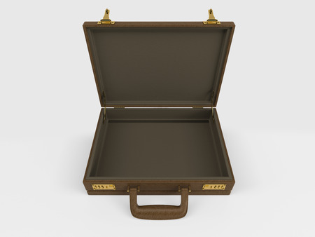 briefcase: 3D Render of Isolated Briefcase on white