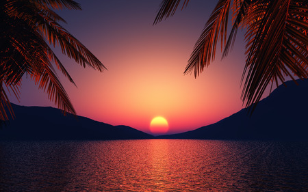 palm tree: 3D render of palm trees and ocean against a sunset sky