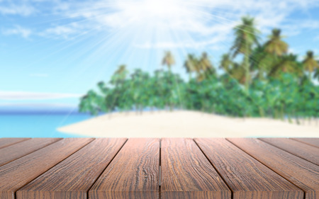 3D render of a wooden table looking out to a tropical island in sea