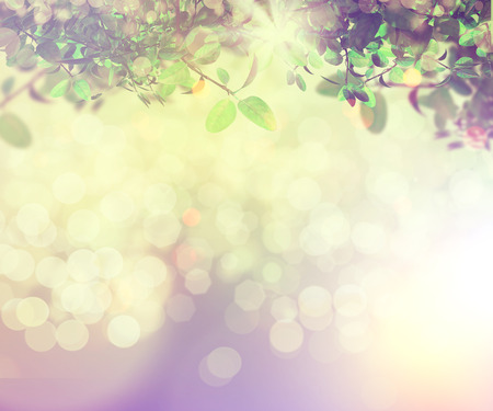 3D render of sunlight shining through leaves on a bokeh light background with vintage effect