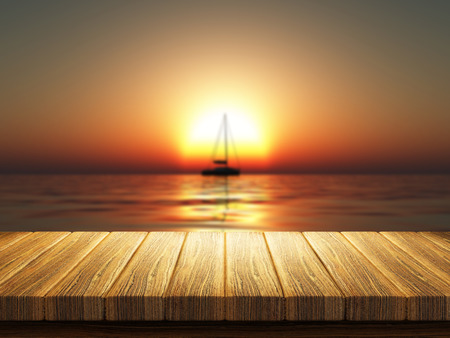 defocussed: 3D render of a wooden table with a defocussed image of a yacht on a sunset ocean