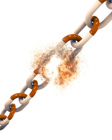 3D render of a Chain of Cigarettes with explosion