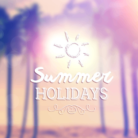 defocussed: Retro summer holidays background with defocussed image of palm trees