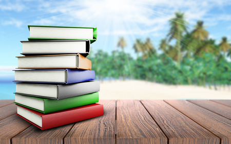 3D render of a stack of books on a wooden table looking out to a palm tree beach
