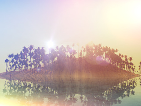 sunny sky: 3D landscape of a palm tree island against a sunny sky with retro effect
