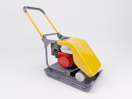 compacting: 3d render of a vibratory plate compactor Stock Photo