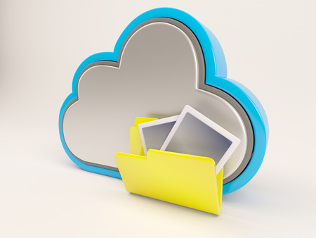 server storage: 3D Render of Cloud Drive Icon Stock Photo