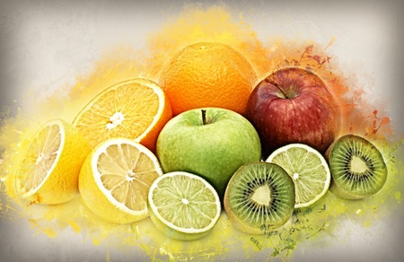 lemon fruit: Healthy fruit background with abstract grunge effect Stock Photo