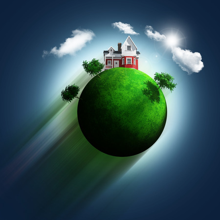 zooming: 3D render of a grassy globe with a house and trees zooming through a blue sky background Stock Photo