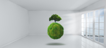 indoors: 3D Render of a grassy globe with tree in an empty room with windows Stock Photo