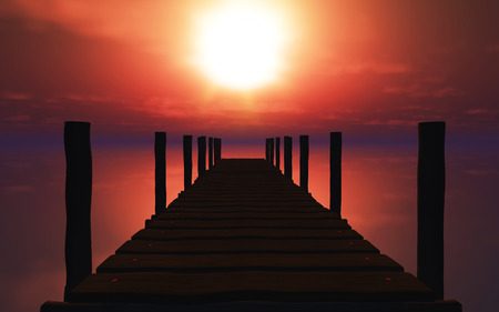 jetty: 3D render of a wooden jetty against a sunset ocean