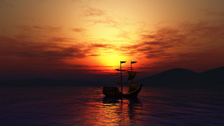 sunset sky: 3D landscape of a ship sailing on the sea against a sunset sky