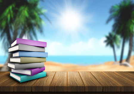 beach holiday: 3D render of a pile of books on a wooden table looking out to a sandy beach Stock Photo