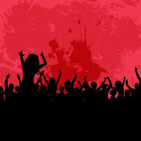 persone che ballano: Silhouette di una folla di partito su uno sfondo grunge