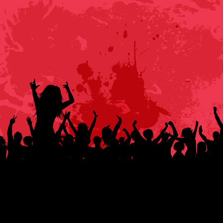person: Silhouette of a party crowd on a grunge background