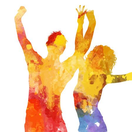 silueta humana: Silueta de personas bailando con un diseño del grunge de la acuarela