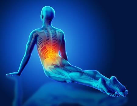 Figura maschio medico 3D con scheletro parziale evidenziato in posa yoga Archivio Fotografico - 43225235