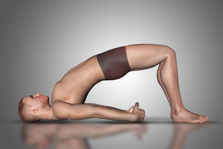 male figure: 3D render of a male figure in a yoga position