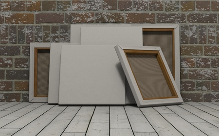 blank canvas: 3d render of an Blank Canvas on exposed brick wall Stock Photo