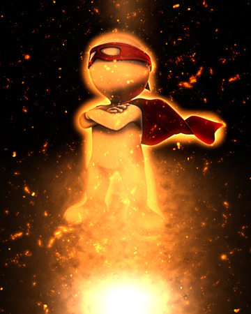 cape: 3D superhero with fiery explosion effect