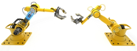 3D übertragen von einem Industrieroboter-Arm Render Standard-Bild - 43225314