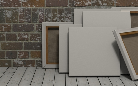 canvas: 3d render of an Blank Canvas on exposed brick wall Stock Photo