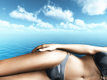 close: 3D render of a close up of a female in a bikini sunbathing in front of the ocean Stock Photo